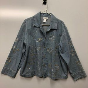 Coldwater Creek Denim Floral Embroidered Jacket 2X